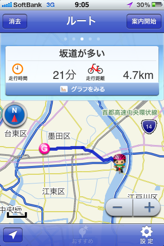 体感!iPhoneアプリ「自転車NAVITIME」