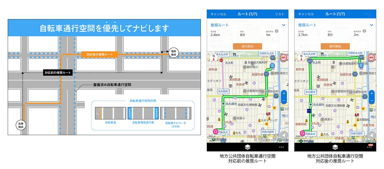ナビタイムジャパン 日本初、国や地方公共団体が整備を進める「自転車通行空間」に対応アプリ提供